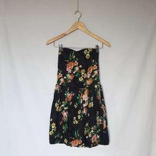 Dark Floral Tube Dress