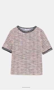 Zara Trf tweed pearl top