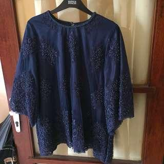 Navy blouse full beads/ payet