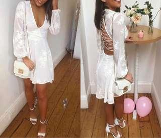 white lace up back dress