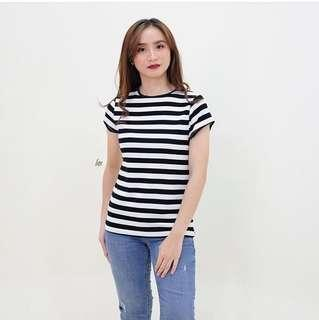 Black and White Striped Highneck Top