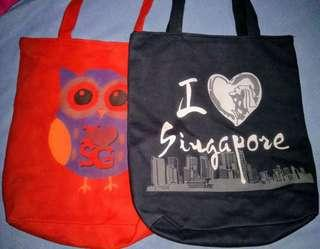 (Repriced!)Canvass Tote Bags (I 💓 Singapore)
