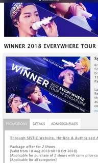 Winner Everywhere Tour x 2 CAT 2 tix