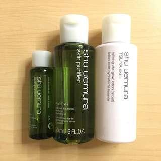 <全新>Shu Uemura 皇牌昇級綠茶抗氧化潔顏油/TSUYA 光感新肌細緻活力亮澤化妝水(滋潤)旅行裝(可散賣)