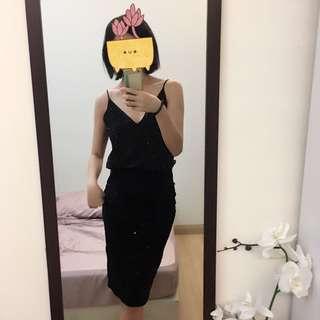 H&M Black Pin Stripe Skirt