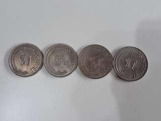 Singapore Lion old coins yr 67,68 ,4 coins