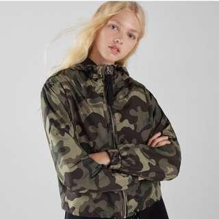 BERSHKA army nylon hoodie outer jacket
