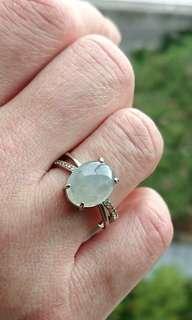 Icy Myanmar Jade (Jadeite) Cabochon on 925 Silver Ring. 白冰缅甸玉翡翠925银女戒。