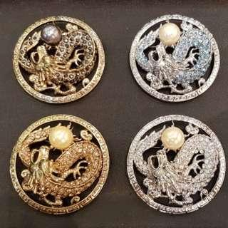 "Peranakan Chinese Unisex  Pendant Brooch with Dragon design and pearl, 2.2"" diameter. Gold, Bronze & Silver colour"