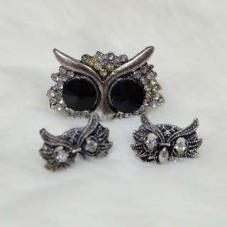 Owl set earing & ring