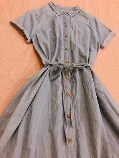 🚚 9成新 文青風牛仔2way(可當襯衫外套/單穿洋裝)活動綁帶雙口袋洋裝(free size孕婦可穿)(120cm)