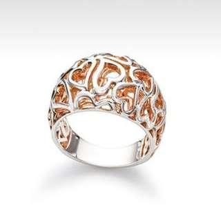 Chamilia Rose Gold Silver Ring Size US8/EU58