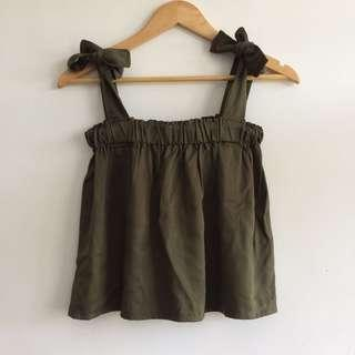 [REPRICED] Army green self-tie top