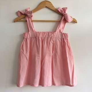 [REPRICED] Pink Self-tie top