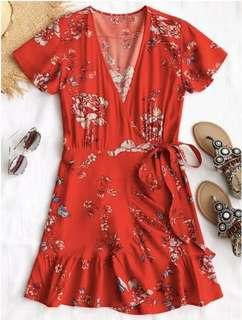 Zaful red floral wrap dress