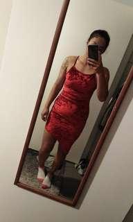 Red Asymmetric mini dress