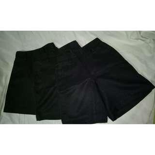 3pc Black School Shorts