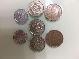 日本錢幣昭和年代六個➕一個平成三年一円