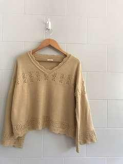 Cream Knitted Oversized Sweater