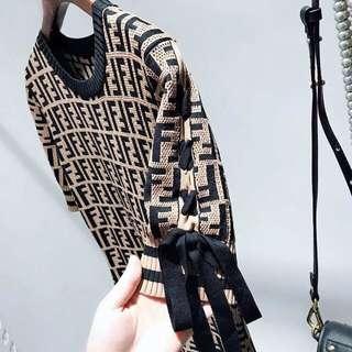 Fendi Inspired Knitted Dress