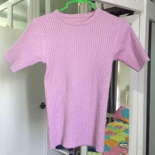 pink ribbed/knitted top