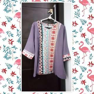 Blouse Batik Tribal Dusty Purple