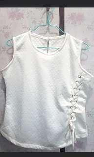 Soft white knot top