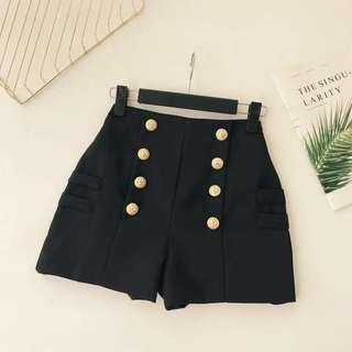 High Waisted Shorts with Gold Button Detail
