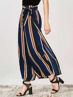 striped wide legged palazzo pant