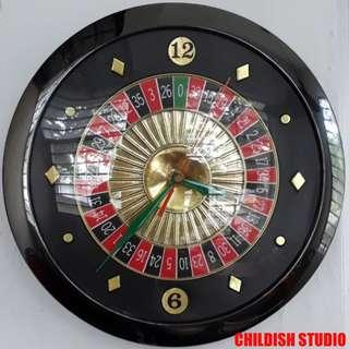 CASINO ROULETTE Wall Clock 11 inch diameter.