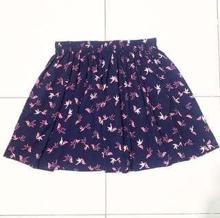 New Look Navy Dove Skirt / Tumblr Skirt / Rok Tumblr / Rok Lucu / Rok Flare / Flare Skirt / Rok Biru Navy