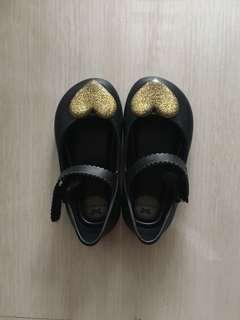 Zaxy Black Jelly Pumps with Gold Heart Accent