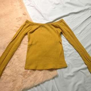Mustard long sleeves off shoulder