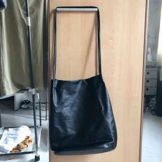 Black Synthetic Leather Sling Bag