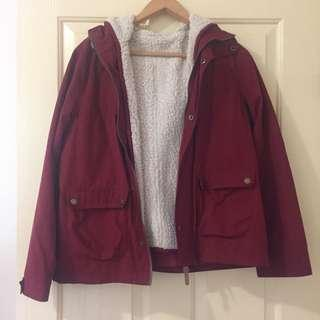 Burgundy Jacket w Removable Fleece