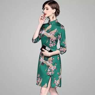 c66a18d295 crane cheongsam Qipao dress plus size frock
