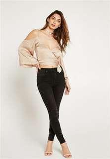 Bardot Abbey Top Off Shoulder Creme silky size 8