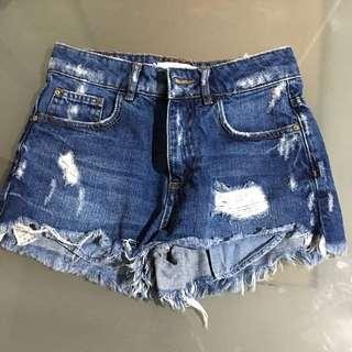 Mango Premium Denim High Waisted ripped Denim Shorts
