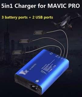 🚪5in1 Battery Charger USB Charger Battery Parallel Charging RC Smartphone Charger for DJI MAVIC PRO