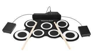 🚪Professional 7 Pads Portable Digital USB Roll up Foldable Silicone Electronic Drum Pad Kit With DrumSticks Foot Pedal