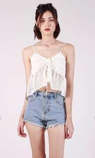 White Crochet Babydoll Top