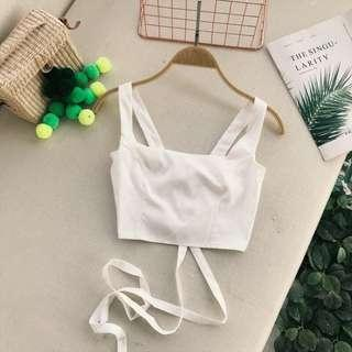 White Back Shoelace Crop Top