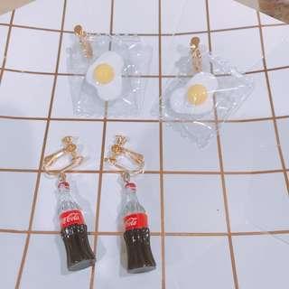 🚚 🔹歡迎訂製(客製耳環)客人下定的耳環 超可愛的❤️可樂 蛋白