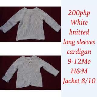 H&M (L.O.G.G - Label of Graded Goods) white knitted long sleeves cardigan for baby girl