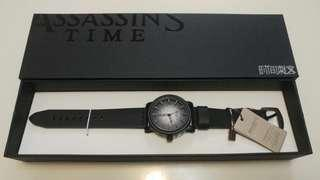 Assassins Time時間刺客黑色鋸齒真皮手錶