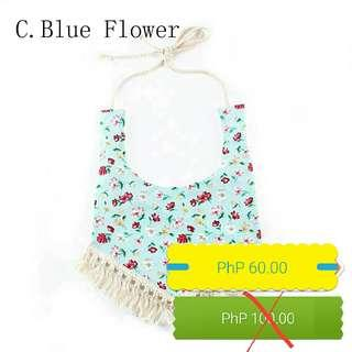 Blue Flower Baby Bib