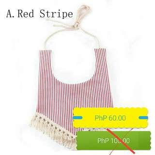 Red Stripes Baby Bib
