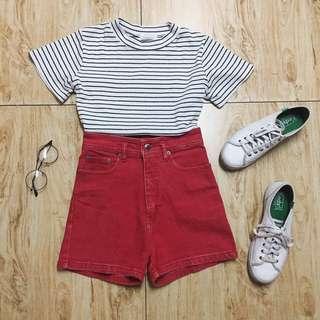 Red Highwaisted Denim Shorts