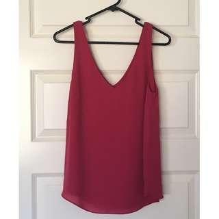 Brand New Sportsgirl Size 8 Hot Pink/Fuchsia V-Neck Camisole/Tank Top