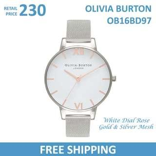 Olivia Burton Ladies Watch White Dial Rose Gold & Silver Mesh OB16BD97